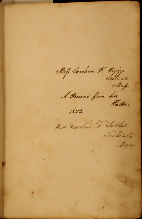 Recto of First Front Flyleaf with Inscription of Volume 1 of the 1852 George P. Putnam 16th Edition, Version 1