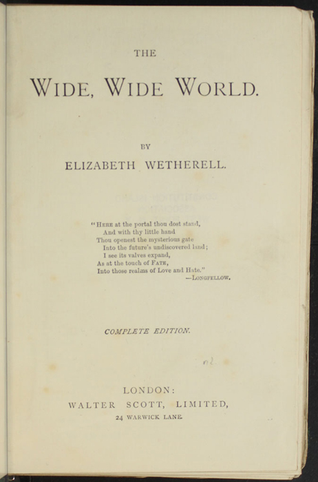 """Title Page to the [1893] Walter Scott, Ltd. """"Emerald Library"""" Reprint"""