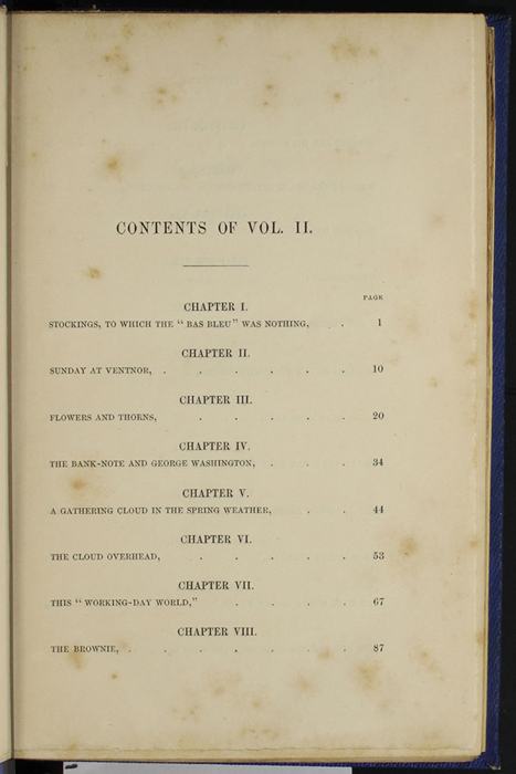 "First Page of the Table of Contents for Volume 2 of the 1852 James Nisbet, Sampson Low, Hamilton, Adams & Co. ""Second Edition"" Reprint"