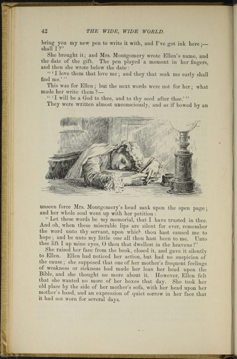 "Illustration on Page 42 of the 1892 J. B. Lippincott Co. ""New Edition"" Reprint Depicting Mama Bowing Her Head After Inscribing Ellen's Bible"