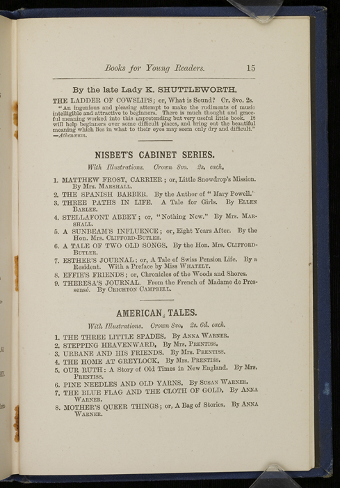"Fifteenth Page of Back Advertisements in 1886 James Nisbet & Co. ""New ed. Golden Ladder Series"" Reprint"