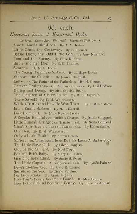 Twenty-Seventh Page of Back Advertisements in the [1910] S. W. Partridge & Co., Ltd. Reprint