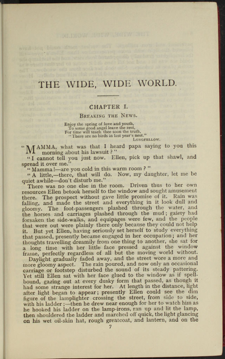 First Page of Text in Wetherell, Elizabeth [Susan Warner]. The Wide, Wide World. Reprint, Complete ed., London: Ward, Lock, & Co., Ltd., [1902].