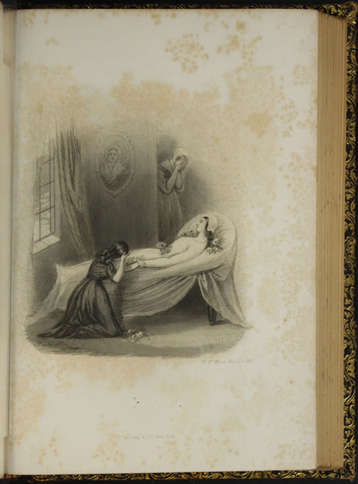 "Illustration on Page 186d of Volume 2 of the 1853 G.P. Putnam & Co. ""Illustrated Edition"" Reprint,  Depicting Ellen Grieving at Alice's Deathbed"