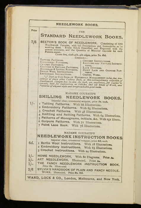 """Third Page of Front Advertisements in the [1884] Ward, Lock & Co. """"Lily Series, Complete Edition"""" Reprint"""