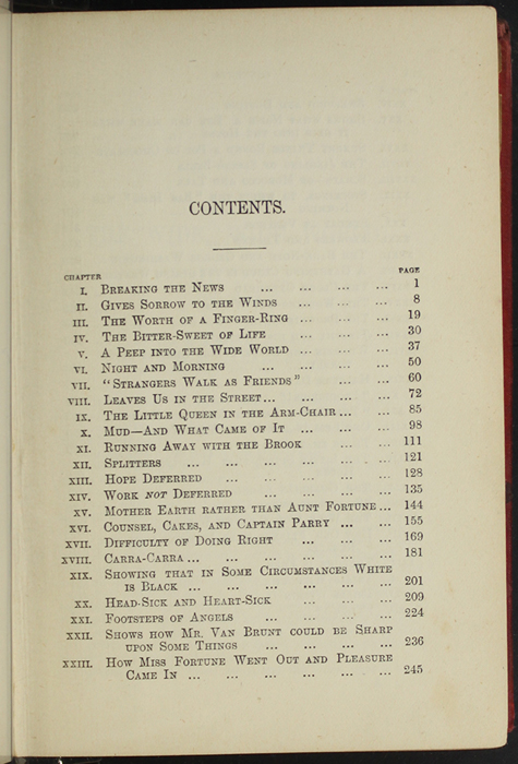 First Page of the Table of Contents for [1891] James Nisbet & Co. Reprint
