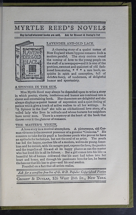 First Page of Back Advertisements in the [1907] Grosset & Dunlap Reprint, Version 4