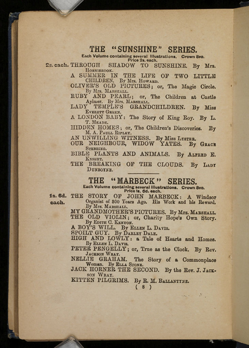 Eighth Page of Front Advertisements in [1896] James Nisbet & Co. Reprint