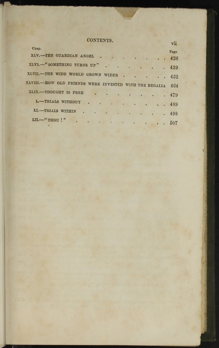 "Third Page of the Table of Contents for the 1853 H. G. Bohn ""Standard Library"" Reprint"