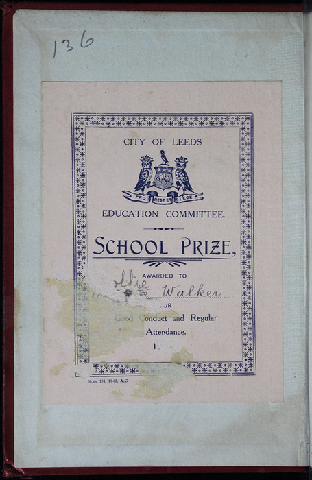 "Front Pastedown of the [1903] W.P. Nimmo, Hay & Mitchell ""Complete Edition"" Reprint, with a Prize Plate Presented to Mollie Walker by the City of Leeds Education Committee"