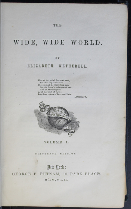 Title Page to Volume 1 of the 1852 George P. Putnam 16th Edition, Version 2