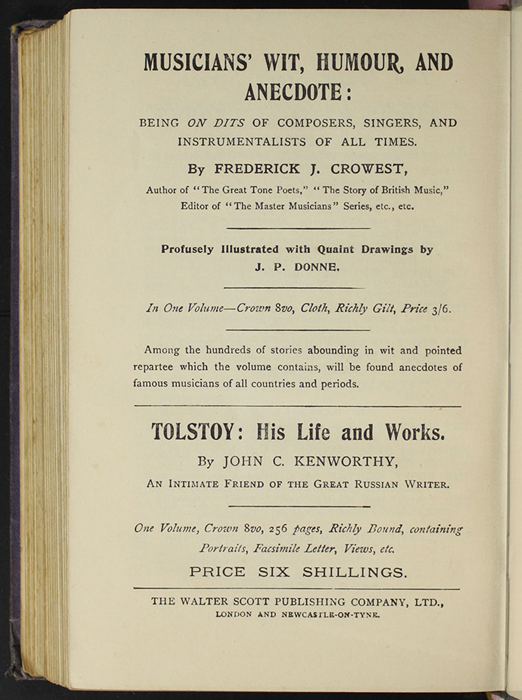 "Fourteenth Page of Back Advertisements in the [1904] The Walter Scott Publishing Co. Ltd. ""Complete ed."" Reprint"