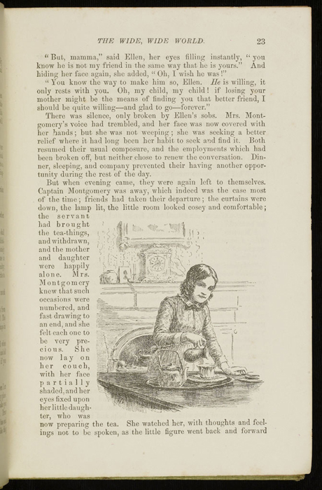 Illustration on Page 23 of the 1896 Hodder and Stoughton Reprint Depicting Ellen Making Tea for Mamma