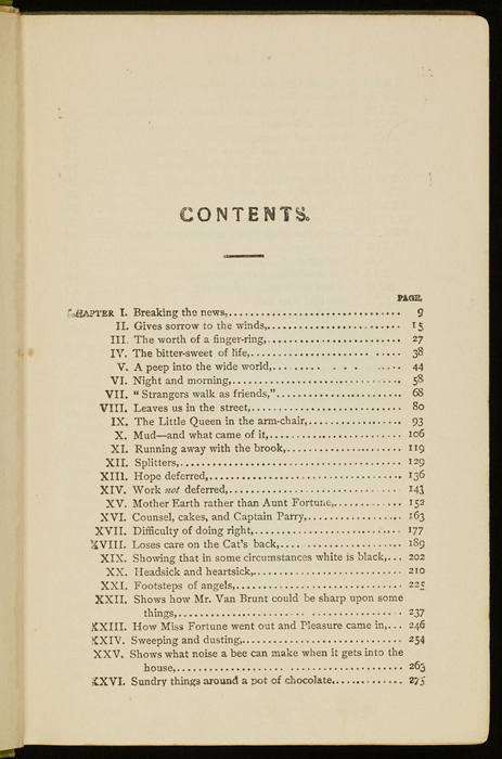 First Page of the Table of Contents for the [1915] M. A. Donohue & Co. Reprint
