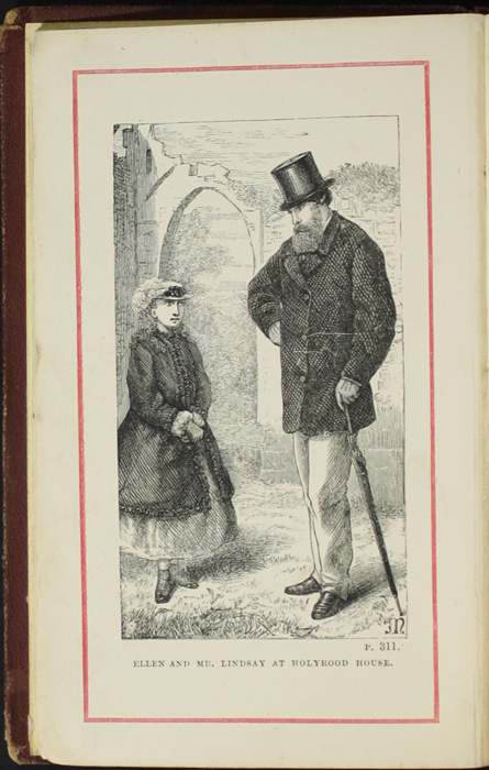 Frontispiece to the [1878] Milner & Co. Reprint, Version 1 Depicting Ellen and Mr. Lindsay at Holyrood House