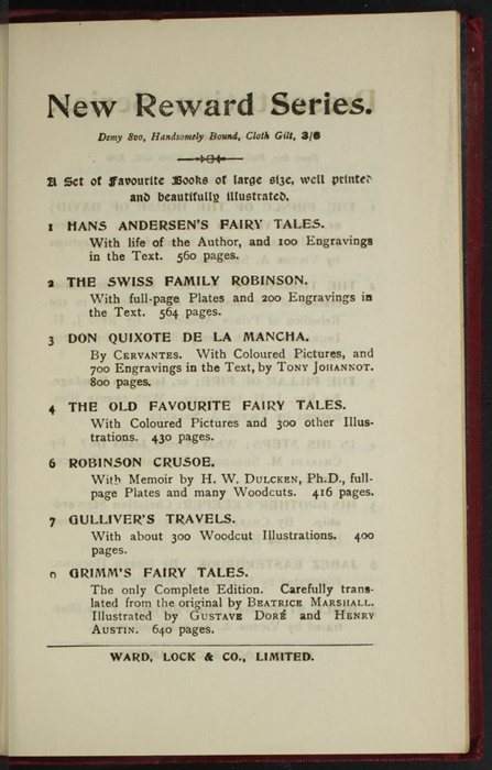 """First Page of Back Advertisements in the [1902] Ward, Lock, & Co., Ltd. """"Complete Edition"""" Reprint"""