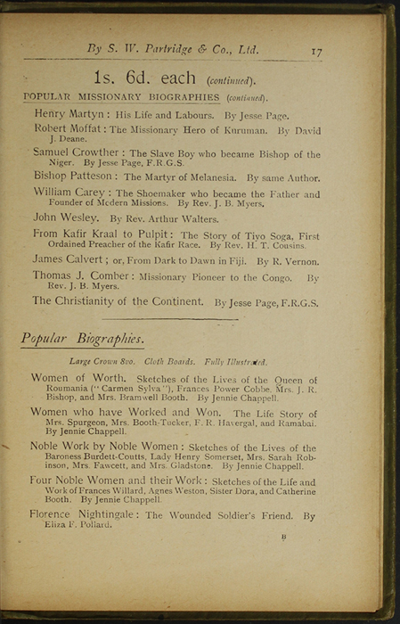 Seventeenth Page of Back Advertisements in the [1910] S. W. Partridge & Co., Ltd. Reprint