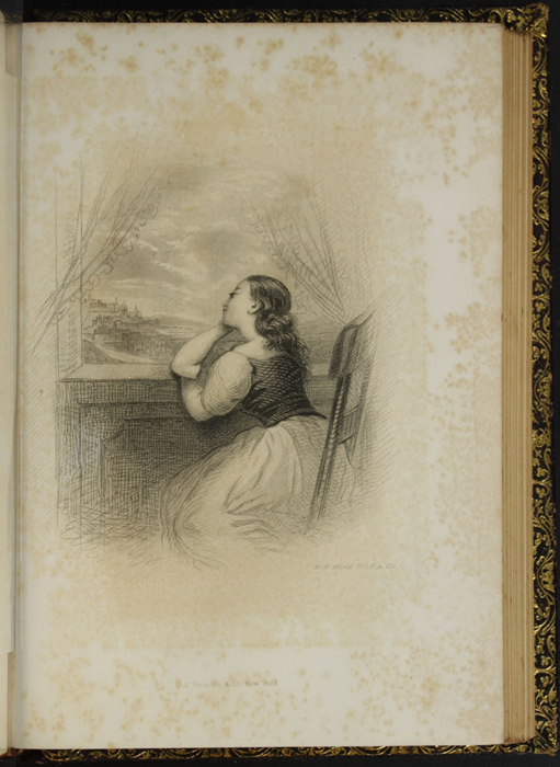 "Illustration on Page 250d of Volume 2 of the 1853 G.P. Putnam & Co. ""Illustrated Edition"" Reprint Depicting Ellen Staring Out a Window in Scotland Missing Those at Home"