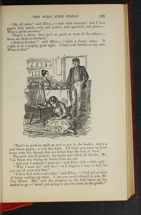 """Illustration on Page 235 of the 1903 J.B. Lippincott Co. """"New Edition"""" Reprint Depicting Mr. Van Brunt, Ellen, and Aunt Fortune in the Kitchen"""