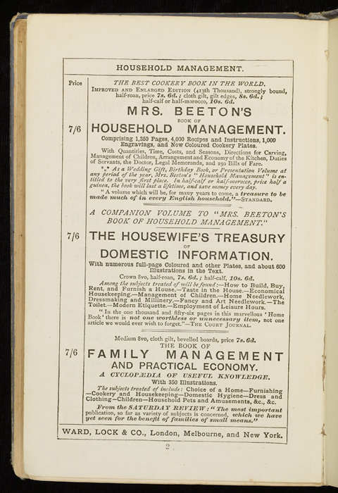 """Fifth Page of Front Advertisements in the [1884] Ward, Lock & Co. """"Lily Series, Complete Edition"""" Reprint"""