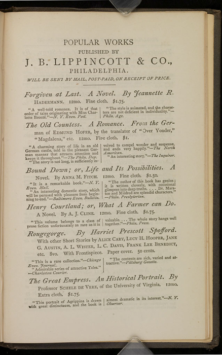 """First Page of Back Advertisements in the 1871 J. B. Lippincott & Co. """"New Edition"""" Reprint"""