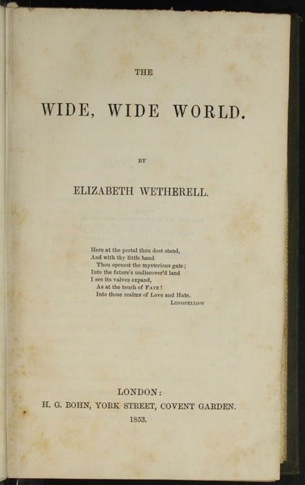 "Title Page to the 1853 H.G. Bohn ""Standard Library"" Reprint"