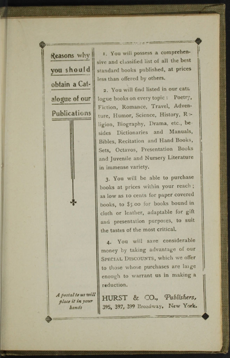 First Page of Back Advertisements in the [1900] Hurst & Co. Reprint, Version 1
