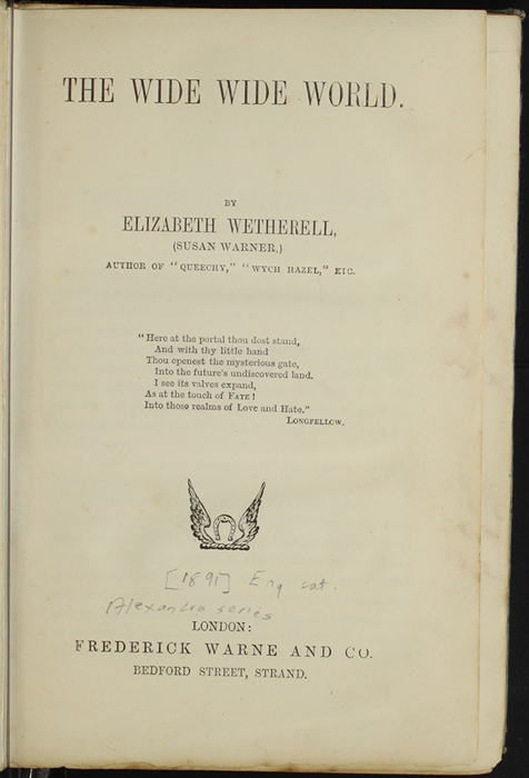 Title Page to the [1890] Frederick Warne & Co. Reprint
