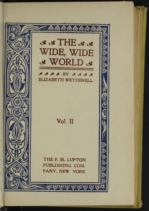 Title Page to Volume 1 of the [1898] F. M. Lupton Publishing Co. Reprint