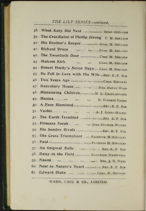 """Fifth Page of Advertisements to the [1903] Ward, Lock, & Co., Ltd. """"Complete Edition"""" Reprint"""