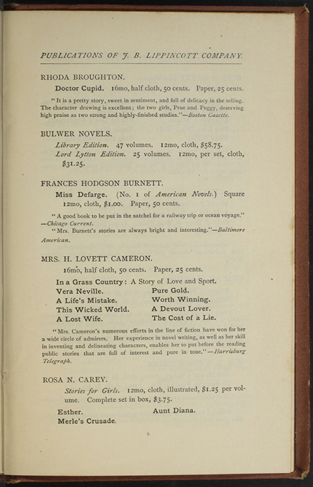 """Third Page of Back Advertisements in the 1891 J. B. Lippincott Co. """"New Edition"""" Reprint"""