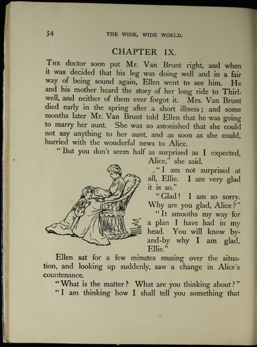 Illustration on page 54 of the [1918] Thomas Nelson & Sons, Ltd. Abridged Reprint Depicting Alice Telling Ellen of Her Illness