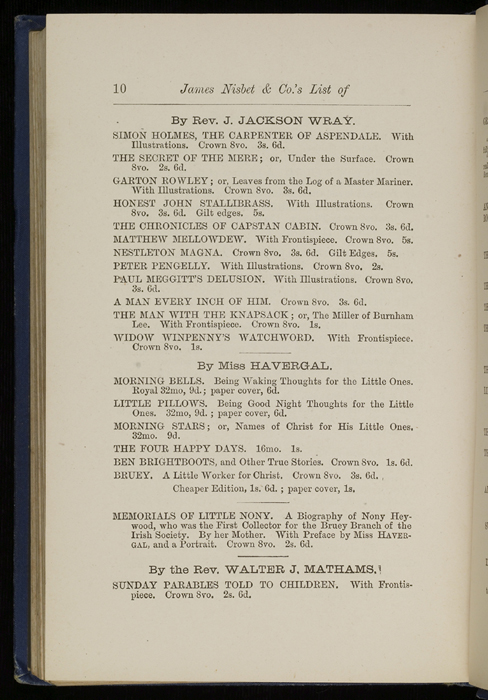 "Tenth Page of Back Advertisements in 1886 James Nisbet & Co. ""New ed. Golden Ladder Series"" Reprint"