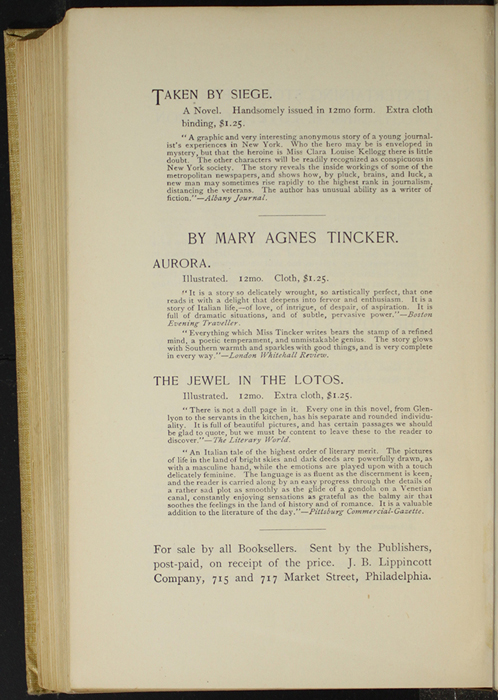 "Fourth Page of Back Advertisements in the 1892 J. B. Lippincott Co. ""New Edition"" Reprint"