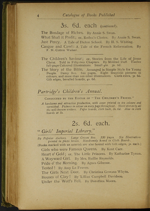 Fourth Page of Back Advertisements in the [1910] S. W. Partridge & Co., Ltd. Reprint