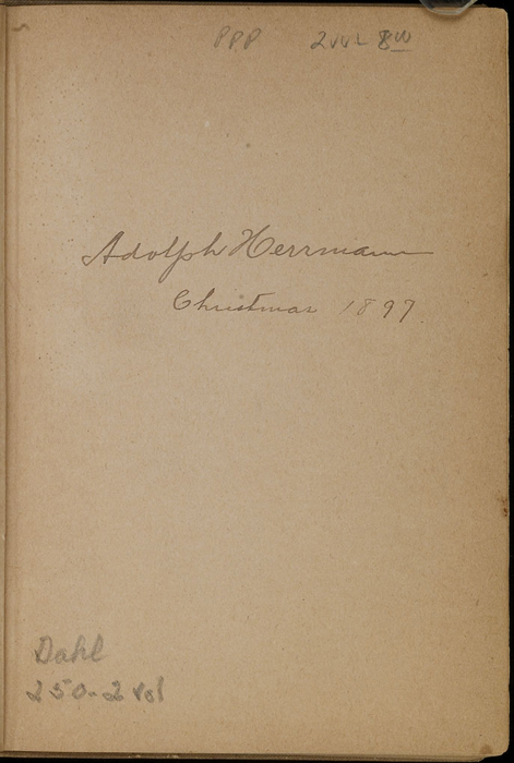 Recto of Front Endpaper with Inscription in Volume 1 of the [1903] The Mershon Co. Reprint