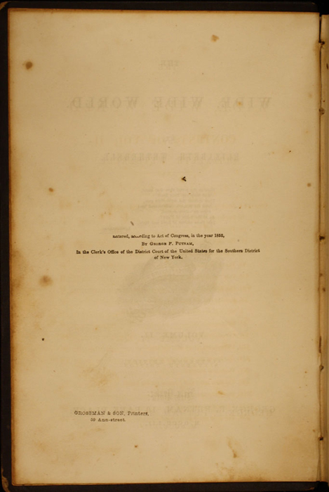 Copyright Page to Volume 2 of the 1852 George P. Putnam 16th Edition, Version 1