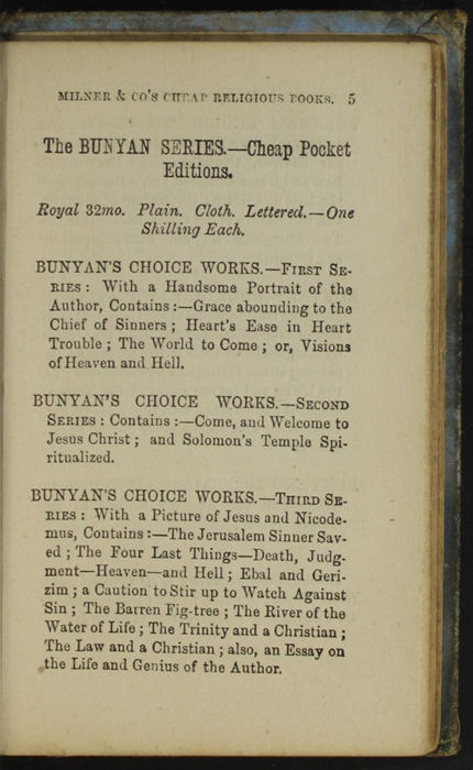 Fifth Page of Back Advertisements in the [1868] Milner & Co. Reprint, Version 1