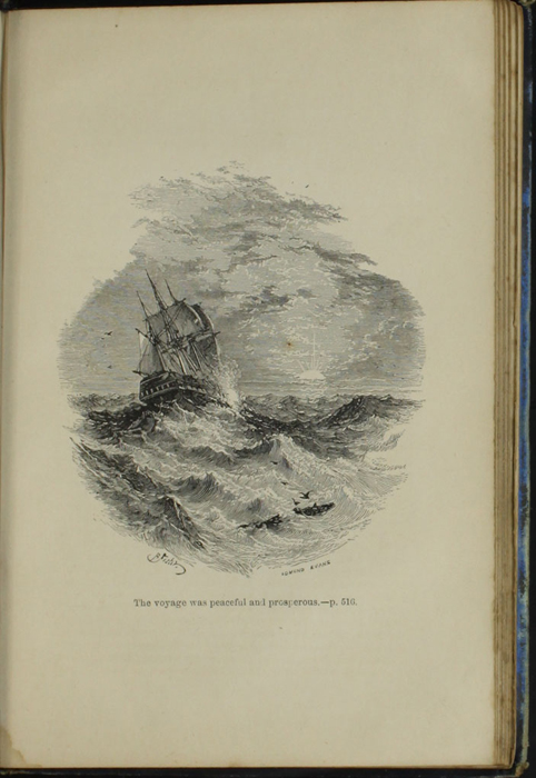 Illustration on page 516a of the [1890] Frederick Warne & Co. Reprint Depicting a Ship at Sea