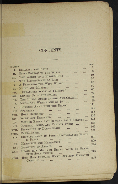 """First Page of the Table Contents for [1891] James Nisbet & Co. """"New ed."""" Reprint"""