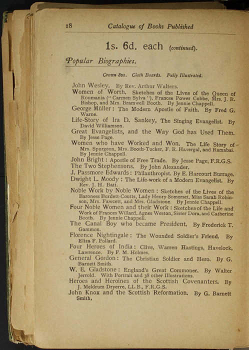 Eighteenth Page of Back Advertisements in the [1904] S. W. Partridge & Co. Reprint