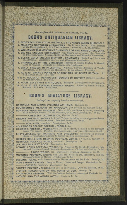 """Third Page of Back Advertisements in the 1853 H. G. Bohn """"Standard Library"""" Reprint"""