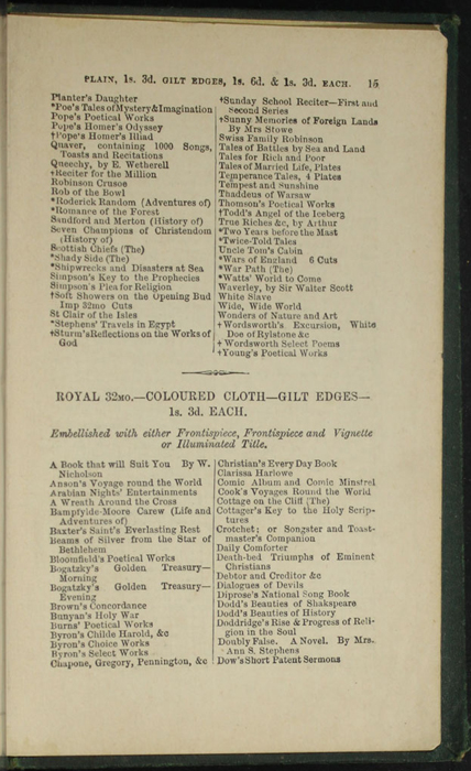 Fifteenth Page of Back Advertisements in the [1879] Milner & Sowerby Reprint