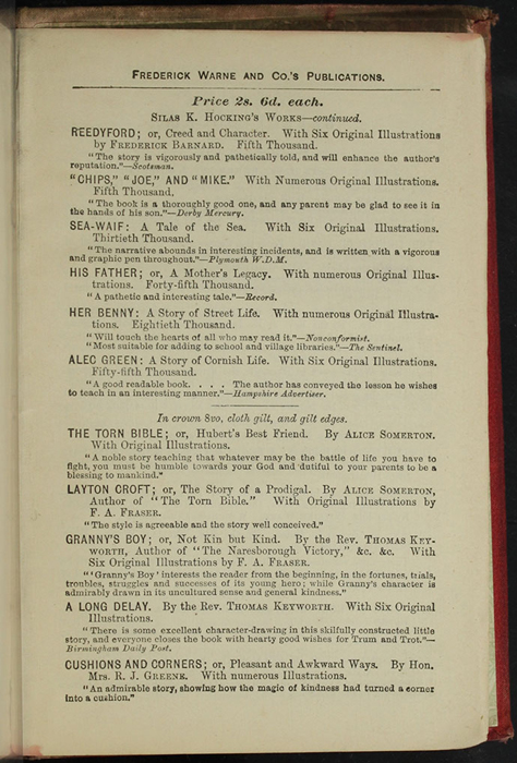 "Third Page of Back Advertisements in [1890] Frederick Warne & Co. ""Star Series"" Reprint, Version 2"