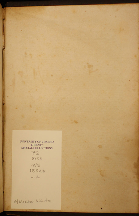 Recto of Back Flyleaf of Volume 2 of the 1852 George P. Putnam 16th Edition, Version 1