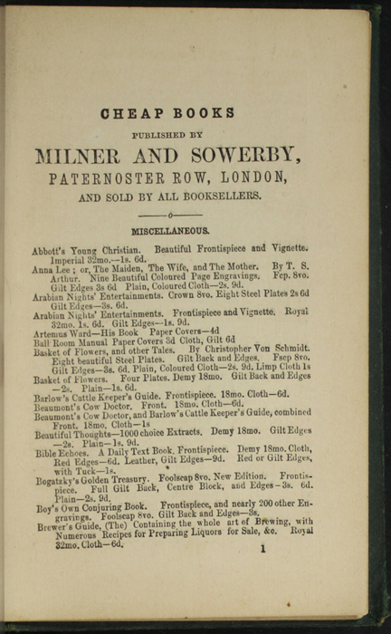 First Page of Back Advertisements in the [1879] Milner & Sowerby Reprint