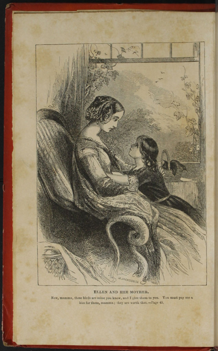 "Frontispiece to the 1853 T. Nelson & Sons ""Nelson's Library for Travellers and the Fireside"" Reprint Depicting Ellen in the Parlour with Mamma"