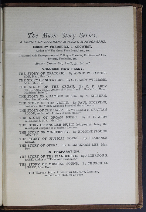 Fifteenth Page of Back Advertisements in the [1896] The Walter Scott Publishing Co. Ltd. Reprint