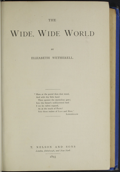Title Page to the 1893 T. Nelson & Sons Reprint