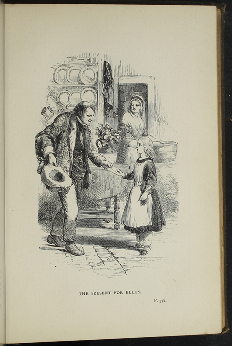 """Illustration on Page 378a of the [1891] James Nisbet & Co. """"New Edition"""" Reprint Depicting Thomas Delivering John's Gift of The Pilgrim's Progress to Ellen"""